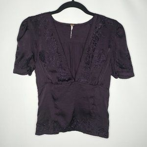 NWOT Free People Embroidered V-Neck Blouse